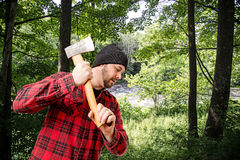 Houthakker Woodsman Chopping Wood stock fotografie