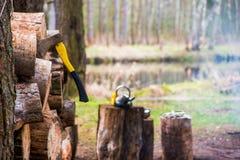 Houthakkersbijl voor het hakken van hout in de zomer het kamperen royalty-vrije stock foto's