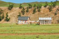 Houthuizen in noordelijk Mongolië royalty-vrije stock afbeelding