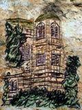 Houtskool en pastelkleur van de bouw van het Midden-Oosten stock illustratie