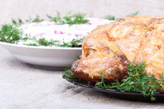 Houtskool gebakken kip en bijgerechten Stock Foto