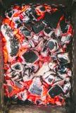 Houtskool roodgloeiend baksel royalty-vrije stock foto