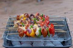 Houtskoolbbq van kebabs in de woestijn stock foto's
