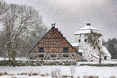 Hovdala Castle Gatehouse and Stables in Winter Stock Images
