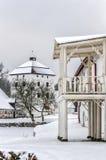 Hovdala-Schloss-Balkon im Winter Stockbild
