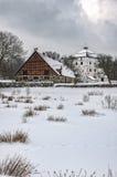 Hovdala-Schloss-Gärten im Winter Lizenzfreie Stockbilder
