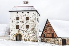 Hovdala-Schloss Gatehouse im Winter Stockfoto