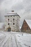 Hovdala-Schloss Gatehouse im Winter Stockfotografie