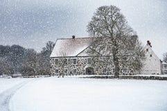 Hovdala-Schloss-Haupthaus im Winter Lizenzfreie Stockfotos