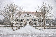 Hovdala-Schloss-Haupthaus im Winter Stockbild