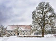 Hovdala-Schloss im Winter Lizenzfreie Stockfotografie