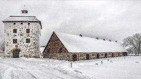 Hovdala-Schloss im Winter Lizenzfreie Stockfotos