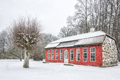 Hovdala-Schloss-Orangerie im Winter Lizenzfreies Stockfoto