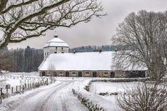 Hovdala-Schloss-Ställe im Winter Lizenzfreies Stockfoto
