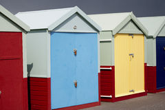 Hove Beach Huts. Color full beach huts in Hove, East Sussex Stock Photography