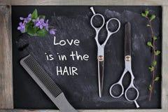 Hove è nella citazione dei capelli Taglio dei capelli e forbici d'assottigliamento su fondo d'annata Concetto del salone del parr Fotografia Stock