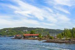 Hovedoya-Insel nahe der Stadt von Oslo stockbild