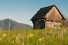 Hovel on grass fiels Royalty Free Stock Photo