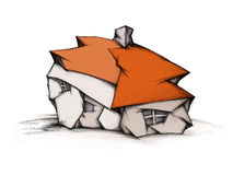 Hovel. Illustration of a hovel with a red roof Royalty Free Stock Images