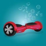 Hoverboard завишет предпосылка иллюстрации rie корабля технологии прибора колеса вектора доски красная голубая Стоковая Фотография