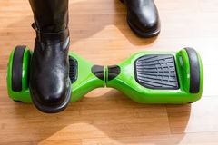 Hoverboard and rider from front top view Royalty Free Stock Image