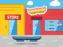 Hoverboard on the street in front of shops. Vector illustration stock illustration