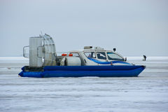 Hovercraft. Glides over the ice of a lake Stock Images
