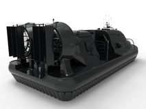 Hovercraft back view illustration. 3D rendered illustration of a black hovercraft. The composition illustrates the back view of the hovercraft and the whole Stock Photo