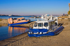 Hovercraft on the bank of Volga river Royalty Free Stock Photo