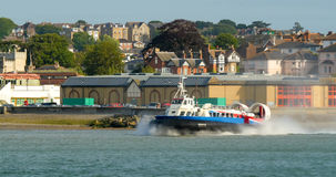 Hovercraft boat leaving the beach in Ryde, Isle of Wight Stock Photo