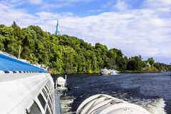 Hovercraft sail from the island of Valaam in Lake Ladoga Royalty Free Stock Photo