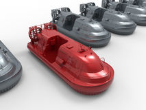 Hovercraft target in row concept. 3D rendered illustration for the concept of targeting in a row hovercraft vehicles. Multiple hovercrafts are isolated on a Stock Image