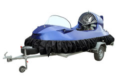The hovercraft on the trailer for transportation. Stock Image
