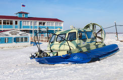 Hovercraft transporter on the Volga embankment in Samara, Russia Royalty Free Stock Image