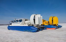 Hovercraft transporter on the Volga embankment in Samara, Russia Stock Image