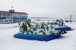 Hovercraft transporter on the Volga embankment in Samara, Russia stock image
