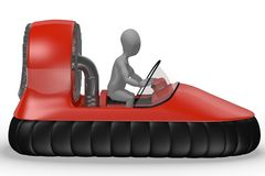 Hovercraft vehicle with character. 3d Royalty Free Stock Photo