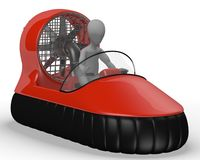 Hovercraft vehicle with character Stock Images
