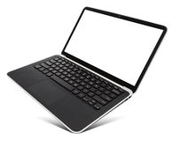 Hovering aluminium laptop with blank screen, isolated on a white Stock Image