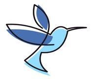 Hovering blue hummingbird Royalty Free Stock Image