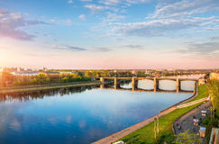Hovering over the Volga River. View of the river Volga in Tver and Novovolzhsky bridge from a height Royalty Free Stock Images