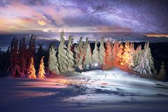 Hoverla night ascent stock images