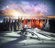 Hoverla night ascent stock image