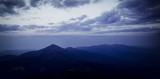 Hoverla peak at dusk. Eastern Carpathians Royalty Free Stock Photography
