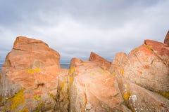 Hovs hallar in Skaene Skåne. Red granite cliffs by the sea in hovs hallar Sweden Stock Photography