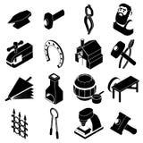 Hovslagaren bearbetar symboler ställde in, enkel stil royaltyfri illustrationer