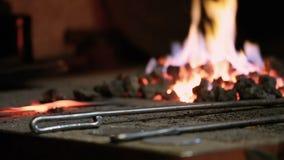 Hovslagaren värmer metall i panna stock video