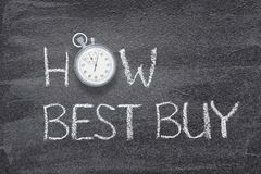 How best buy watch. How best buy phrase written on chalkboard with vintage stopwatch used instead of O stock photos