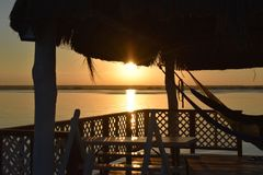 Hammock view at sunrise in Mexico Stock Photo