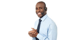 How can I assist you ?. Happy smiling customer support executive Royalty Free Stock Photography